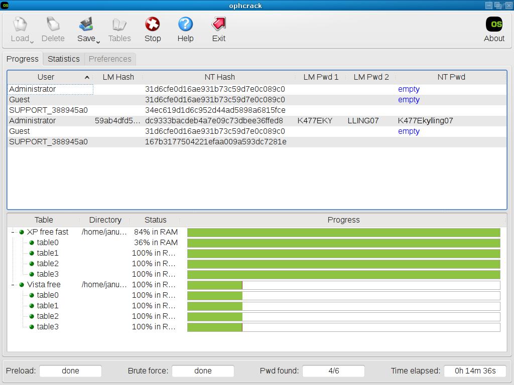 Ophcrack-3.2.0_screenshot